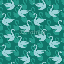 Fototapety Vector seamless pattern with swan on blue background. wallpaper