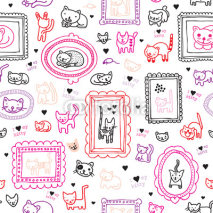 Naklejki Seamless cat kitten ornament kids background pattern in vector