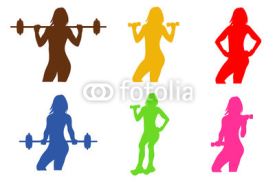 Obrazy i plakaty fitness emblem, woman silhouette, vector illustration
