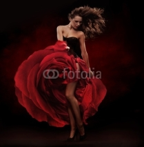 Fototapety Beautiful dancer wearing red dress
