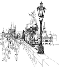Naklejki Charles Bridge - Prague, Czech Republic - a vector sketch