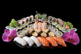Naklejki sushi set over black background