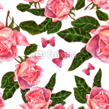 Fototapety Seamless background pattern with vintage style watercolor roses