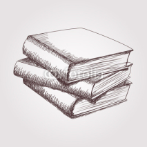 Obrazy i plakaty Vector sketch of books stack