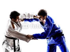 Fototapety judokas fighters fighting men silhouette