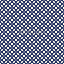 Fototapety Seamless porcelain indigo blue and white arabic round pattern vector