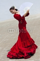 Fototapety Traditional Woman Spanish Flamenco Dancer In Red Dress With Fan