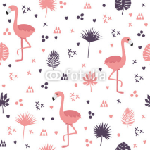 Naklejki Seamless pattern with flamingos and leaves. Cute background with