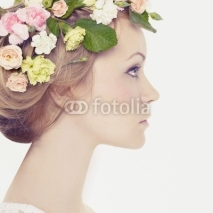 Fototapety Beautiful young girl with flowers