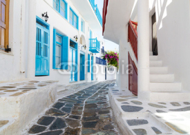 Naklejki whitewashed narrow street in Mykonos island, Cyclades, Greece
