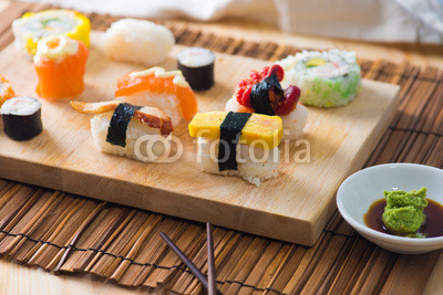 sushi served on a plate