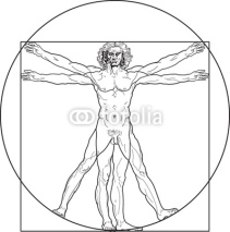 Naklejki 'Homo vitruviano'. So-called The Vitruvian man a.k.a. Leonardo's man. Detailed drawing on the basis of artwork by Leonardo da Vinci by ancient manuscript of Roman master Marcus Vitruvius Pollio.