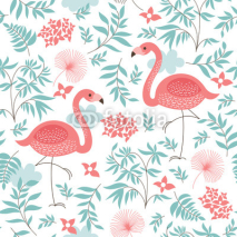 Fototapety seamless pattern with a pink flamingo