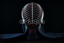 Fototapety Kendo protective sportswear: men, black background
