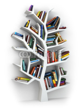 Obrazy i plakaty Tree of knowledge. Bookshelf on white background.
