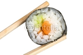Fototapety Chopsticks with salmon maki sushi