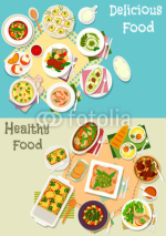 Italian and french cuisine dishes icon set