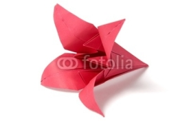 Naklejki Origami flowers isolated on white background