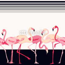 Fototapety Flamingo Bird Background - Retro Seamless Pattern - in vector