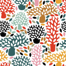 Naklejki Vector multicolor seamless pattern with hand drawn doodle trees. Abstract autumn nature background. Design for fabric, textile fall prints, wrapping paper.