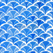 Fototapety Watercolor blue japanese pattern.