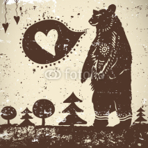 Obrazy i plakaty Wild animal background Bear on a grunge background with a heart
