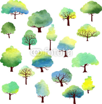 Obrazy i plakaty set of different trees by watercolor