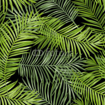 Naklejki Seamless Pattern. Tropical Palm Leaves Background. Vector Background