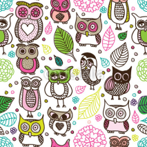 Fototapety Seamless kids owl doodle pattern background in vector