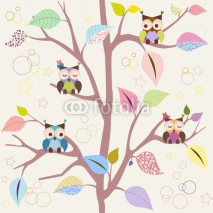 Naklejki Seamless pattern with owls
