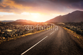 Fototapety Typical Iceland landscape with road