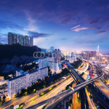 Fototapety Hong Kong Cargo Terminal and highways at sunset