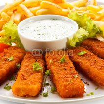Fototapety Fried fish fingers, French fries and vegetables