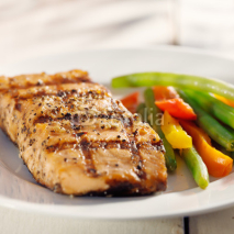 Fototapety grilled salmon with vegetables