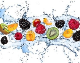 Obrazy i plakaty Fresh fruits in water splash, isolated on white background