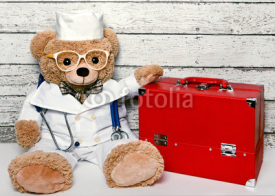 Obrazy i plakaty Teddy bear in medical clothing with the suitcase doctor