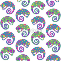 Fototapety Seamless pattern with decorative ethnic style chameleon