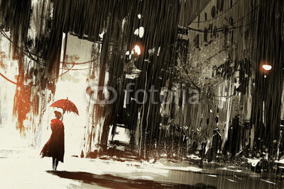 lonely woman with umbrella in abandoned city,digital painting