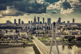 Warsaw skyline behind the bridge vintage view, Poland