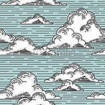 Naklejki Clouds seamless pattern hand-drawn illustration.  Vector background