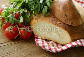 Naklejki traditional Italian ciabatta bread with tomatoes and herbs