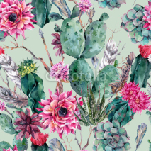 Fototapety Cactus watercolor seamless pattern in boho style.