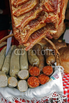 Fototapety Romanian traditional red and white sausage-1