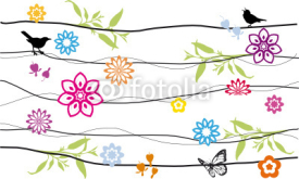 Fototapety floral background design with birds