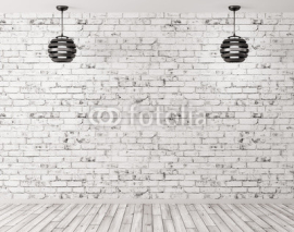 Fototapety Two lamps against of brick wall interior background 3d render