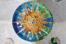Obrazy i plakaty Season mosaic with orange sun at sala Hipostila in Park Guell at