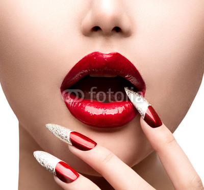 Fashion Model Girl Face. Makeup and Manicure