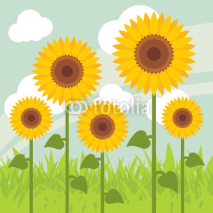 Naklejki Yellow sunflowers landscape background illustration