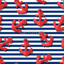 Naklejki Vector seamless pattern with 3d stylized red anchors and blue navy stripes. Summer marine striped background.  Design for fashion textile print, wrapping paper, web background. Anchor flat symbol.