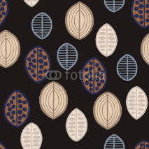 Fototapety Seamless floral pattern with primitive leaves. Seamless floral pattern with primitive leaves. Tribal ethnic background, taupe tones on black background. Textile design.